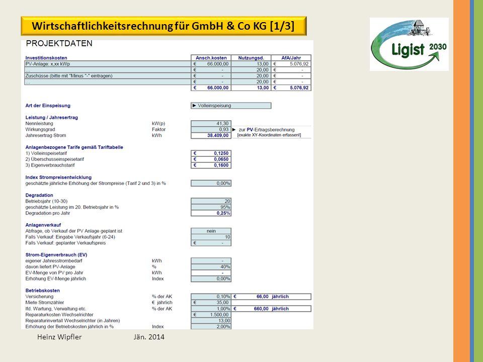 Wirtschaftlichkeitsrechnung für GmbH & Co KG [1/3]